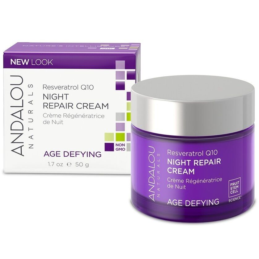 ANDALOU NATURALS Resveratrol Q10 Night Repair Cream - Ночной восстанавливающий крем Ресвератрол и  Q10 50 мл